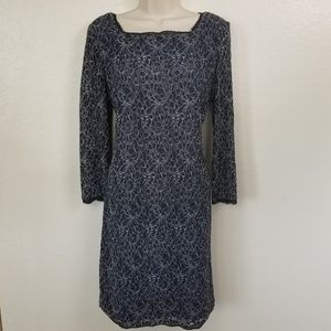 Adriana Papell Lace Dress Navy Blue Long Sleeve 16